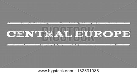 Central Europe watermark stamp. Text caption between horizontal parallel lines with grunge design style. Rubber seal stamp with dust texture. Vector white color ink imprint on a gray background.