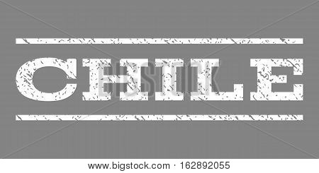 Chile watermark stamp. Text caption between horizontal parallel lines with grunge design style. Rubber seal stamp with dirty texture. Vector white color ink imprint on a gray background.
