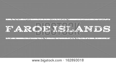 Faroe Islands watermark stamp. Text tag between horizontal parallel lines with grunge design style. Rubber seal stamp with dirty texture. Vector white color ink imprint on a gray background.
