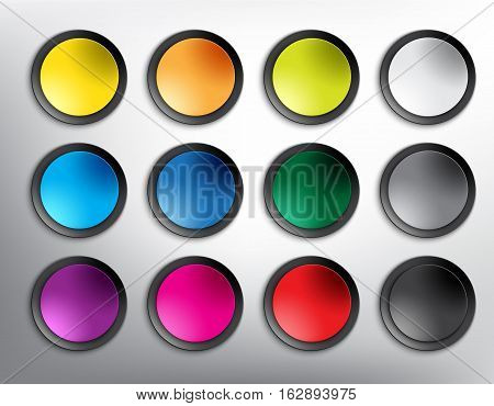 Abstract vector web buttons set of 12. Set of blank colorful and round paper buttons for website or app. Isolated with realistic light and shadow on the white background. Vector illustration. Eps10.