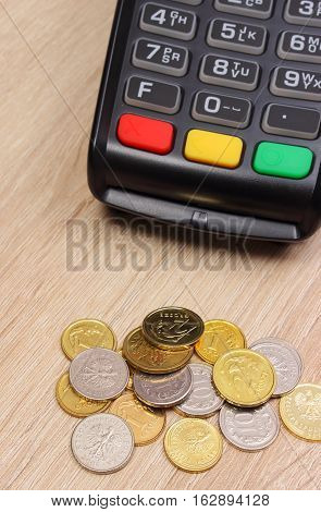 Payment Terminal With Polish Currency, Credit Card Machine On Desk, Finance Concept