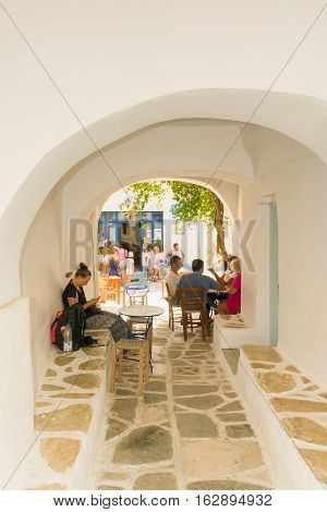 Paros, Greece 13 August 2016. People enjoying theis summer vacations at Prodromos local village in Paros island in Greece.