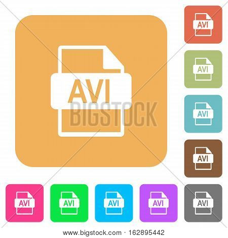 AVI file format icons on rounded square vivid color backgrounds.