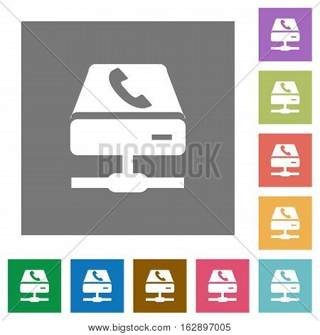 VoIP services flat icons on simple color square backgrounds