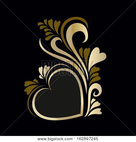Frame luxury gold heart Valentine's day, heart