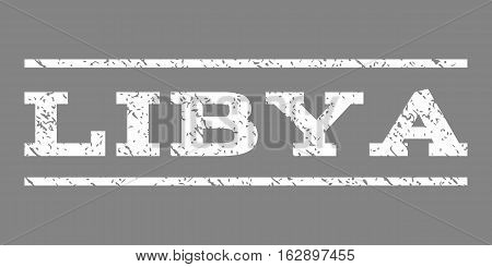 Libya watermark stamp. Text tag between horizontal parallel lines with grunge design style. Rubber seal stamp with dust texture. Vector white color ink imprint on a gray background.
