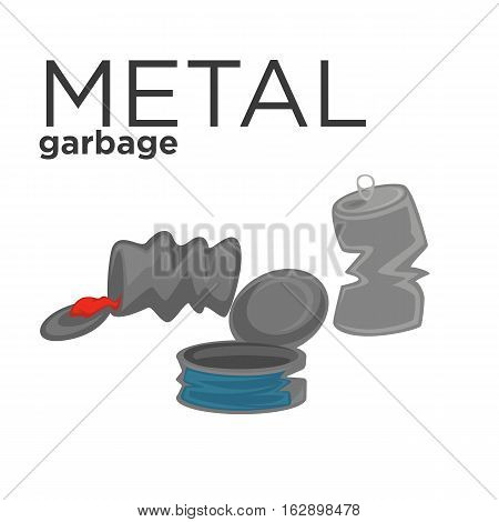 Metal cans or conservation container icon. Vector illustration of waste categories, garbage recycling and trash sorting. Cartoon design element for pollution and ecology.