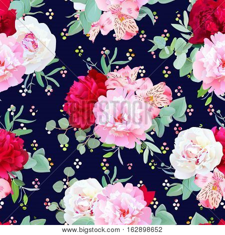 Navy floral seamless vector print with burgundy red and pink peony alstroemeria lily mint eucalyptus. Rainbow confetti blobs speckled graphic backdrop.