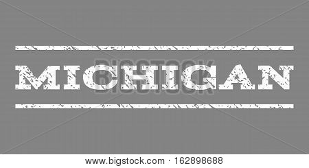 Michigan watermark stamp. Text tag between horizontal parallel lines with grunge design style. Rubber seal stamp with unclean texture. Vector white color ink imprint on a gray background.