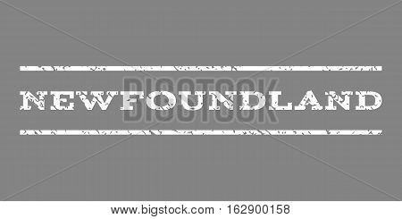 Newfoundland watermark stamp. Text caption between horizontal parallel lines with grunge design style. Rubber seal stamp with unclean texture. Vector white color ink imprint on a gray background.