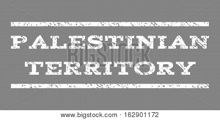 Palestinian Territory watermark stamp. Text tag between horizontal parallel lines with grunge design style. Rubber seal stamp with scratched texture.