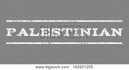 Palestinian watermark stamp. Text tag between horizontal parallel lines with grunge design style. Rubber seal stamp with scratched texture. Vector white color ink imprint on a gray background.