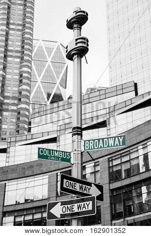 Roadsigns At The Corner Of Broadway And Columbus Circle