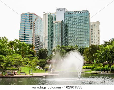 KUALA LUMPUR, MALAYSIA - JANUARY 12, 2014: Cityscape of the Kuala Lumpur, Malaysia. Skyline, skyscrapers and city park