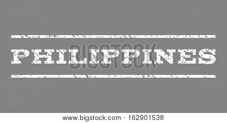 Philippines watermark stamp. Text tag between horizontal parallel lines with grunge design style. Rubber seal stamp with dirty texture. Vector white color ink imprint on a gray background.