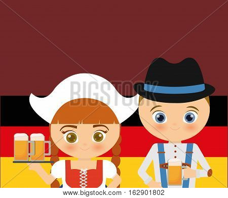 german oktoberfest cartoon icon vector illustration graphic design