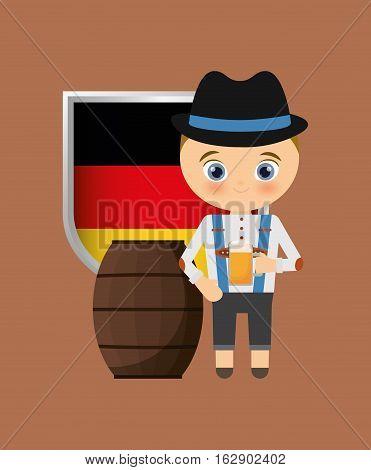 german oktoberfest cartoon icon vector illustration graphic design