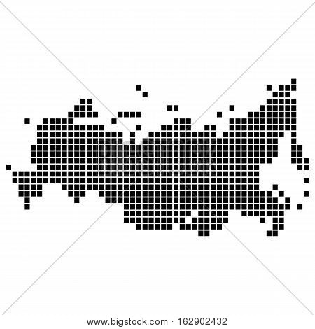 The map of the Russian Federation, is made of square dots, dashes. Original abstract vector illustration for your design.
