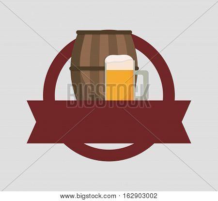 Beer cup barrel icon vector illustration graphic design