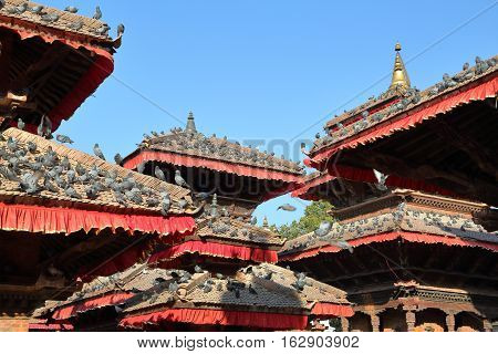 KATHMANDU, NEPAL: Rooftops of temples at Durbar Square