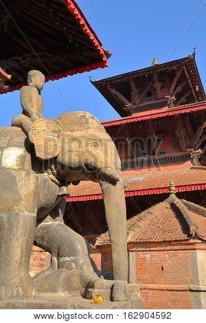 PATAN, NEPAL: Elephant statue at Bishwanath Mandir temple, Durbar Square