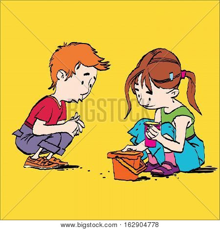 Boy and girl playing in the sandbox, color caricature illustration. Sand and pail