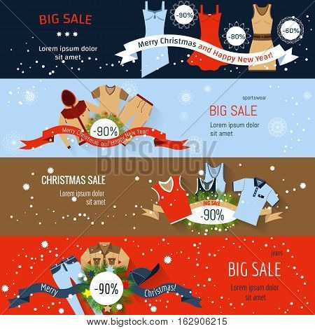 Banner Christmas Sale. Flat illustration jeans and sportswear