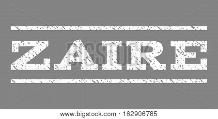 Zaire watermark stamp. Text tag between horizontal parallel lines with grunge design style. Rubber seal stamp with unclean texture. Vector white color ink imprint on a gray background.