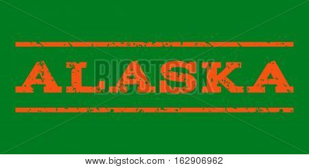 Alaska watermark stamp. Text tag between horizontal parallel lines with grunge design style. Rubber seal stamp with scratched texture. Vector orange color ink imprint on a green background.