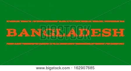 Bangladesh watermark stamp. Text tag between horizontal parallel lines with grunge design style. Rubber seal stamp with dust texture. Vector orange color ink imprint on a green background.