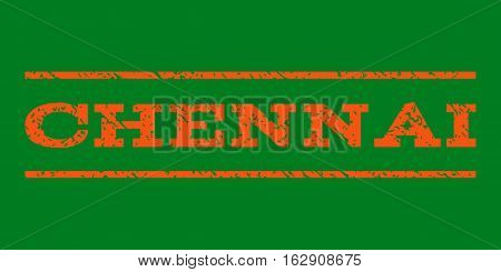 Chennai watermark stamp. Text caption between horizontal parallel lines with grunge design style. Rubber seal stamp with dirty texture. Vector orange color ink imprint on a green background.