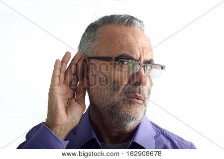 Man with deafness with a white background