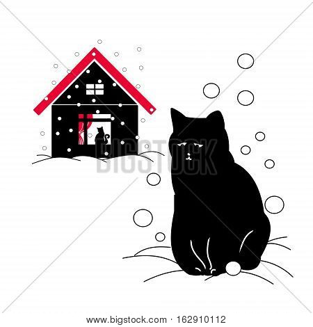 The stray cat outside the cat in the house with the red roof in the winter. Vector illustration