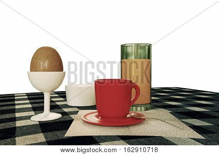 3d illustration of a breakfast table isolated on white background