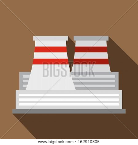 Flat illustration of nuclear power plant vector icon for web isolated on coffee background