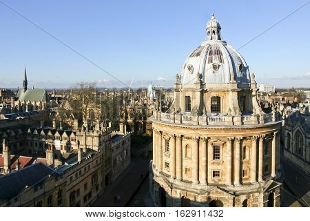 Oxford, England - Jan 3, 2010: View of Radcliffe Square in Oxford. In the foreground the Radcliffe Camera, and sides, Lincoln College, the Bodleian library, Hertford and All Souls