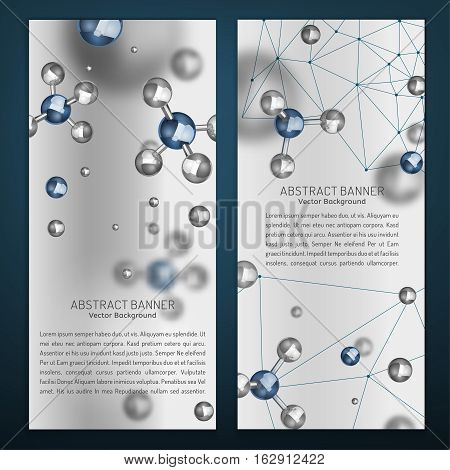 Beautiful portrait digital banners with silver particles and molecular structure. Abstract molecules design in grey ans blue colours. Medical backgrounds for banner or flyer. Vector illustration.