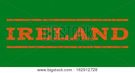 Ireland watermark stamp. Text caption between horizontal parallel lines with grunge design style. Rubber seal stamp with scratched texture. Vector orange color ink imprint on a green background.