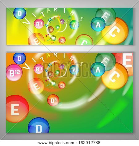 Essential vitamin complex. Creative background with different vitamins in pills flying in a colourful swirl. Vector illustration in bright colours. Medical, dietary image. Landscape banners template.