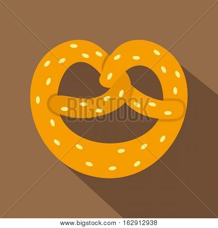 Pretzel icon. Flat illustration of pretzel vector icon for web isolated on coffee background