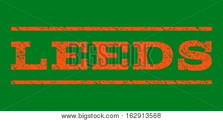 Leeds watermark stamp. Text caption between horizontal parallel lines with grunge design style. Rubber seal stamp with unclean texture. Vector orange color ink imprint on a green background.