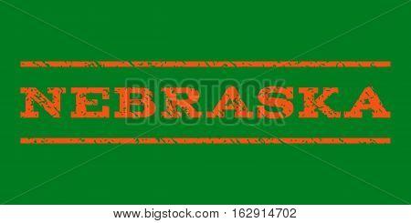 Nebraska watermark stamp. Text caption between horizontal parallel lines with grunge design style. Rubber seal stamp with dirty texture. Vector orange color ink imprint on a green background.
