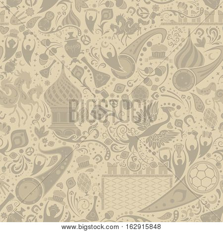Russian ecru seamless pattern world of Russia background with modern and traditional elements vector illustration