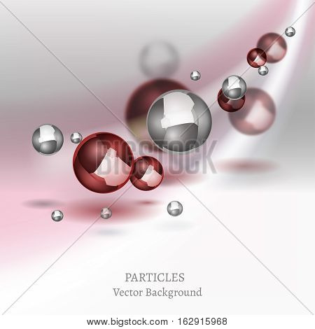 Abstract molecules graphic design. Beautiful vector illustration with glossy volumetric particles in light grey and red colours. Atomic scientific medical or biological background.