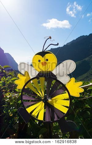 Colorful wind weather vane yellow bee on green background