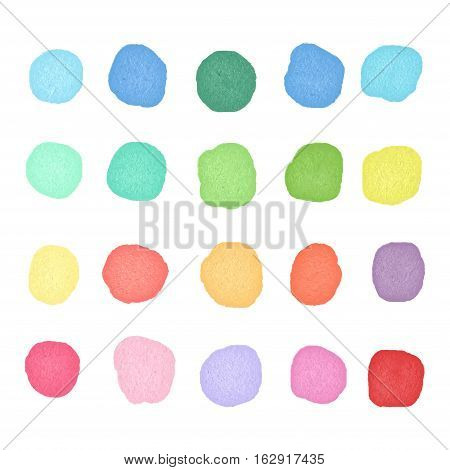 Set watercolor dots. Colorful watercolor blobs. Round shape background.