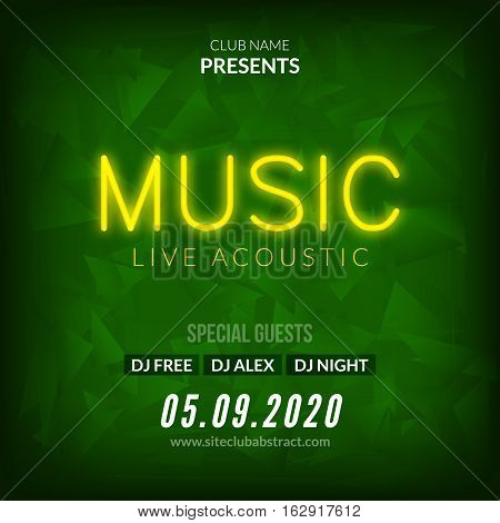 Neon Live Music Concert Acoustic Party Poster Background Template with neon text sign flyer.