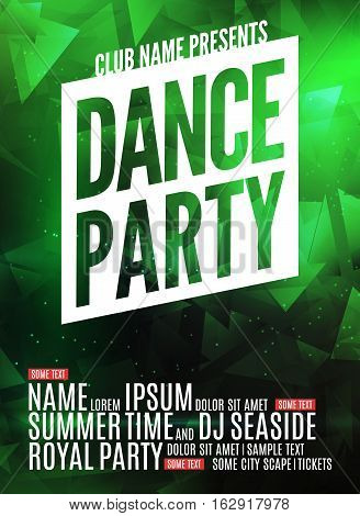 Dance Party Poster Template. Night Dance Party flyer. Club party design template on dark colorful background. DJ promotion.