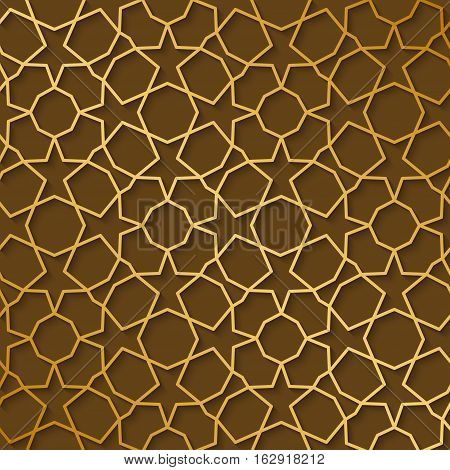 Arabic pattern gold style. Traditional arab east geometric decorative background