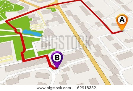 Perspective city map GPS service concept. 3d city map route template design.